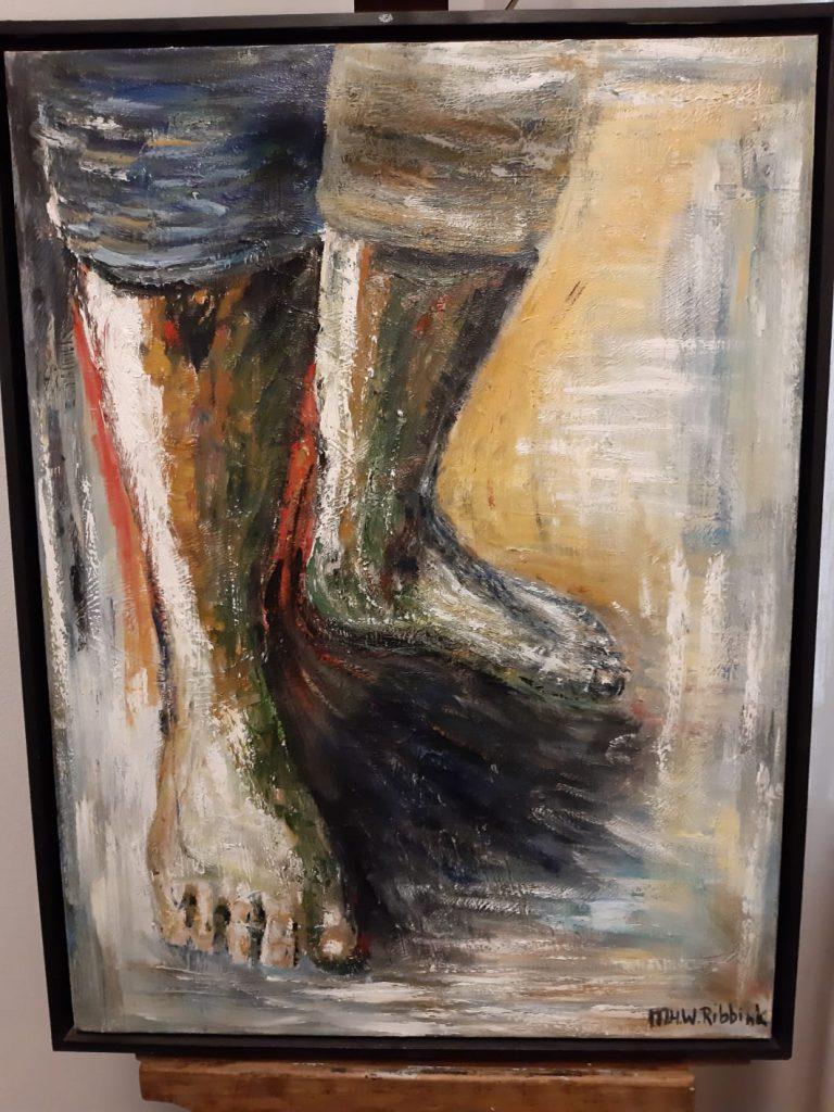 Schilderij voeten gemaakt door Maya